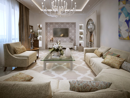 ligature: Luxury Living in the Arab style. In bright colors. 3D render.