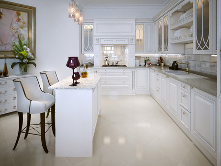 pilasters: Kitchen design in the Moroccan style. In white. 3D render. Stock Photo