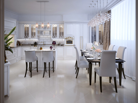 pilasters: White kitchen with dining table in the Arab style. 3D render. Stock Photo