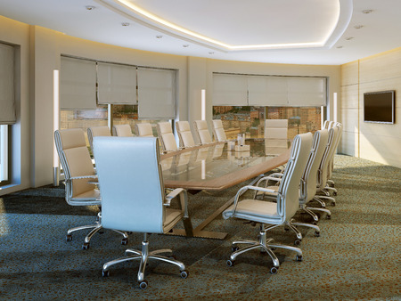wood blinds: Modern meeting room, 3d images