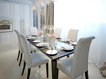Jídelna a kuchyně ve stylu art deco. S uvedenou tabulkou. Bílá a černá nábytek. 3D vykreslování.