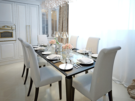 dining room table: The dining room and kitchen in the style of art deco. With the laid table. White and black furniture. 3D render. Stock Photo