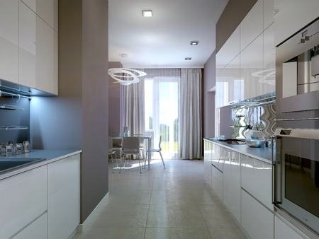 lamp: Modern kitchen interior, 3d images