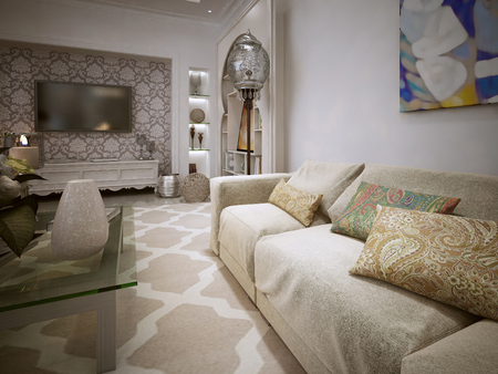 bright paintings: Luxury living in the Moroccan style. 3d visualization