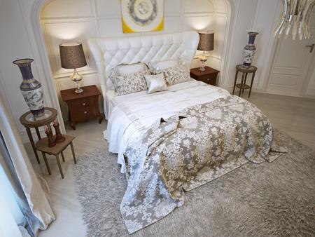 Bedroom oriental style. 3d visualization