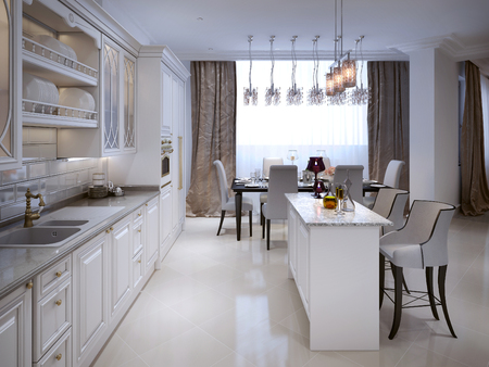 classical style: The kitchen-dining room in a classical style. The white color and chernomom. With bar and bar stools. 3D render.
