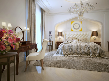 niches: Luxurious bedroom in Arabic style. 3d visualization