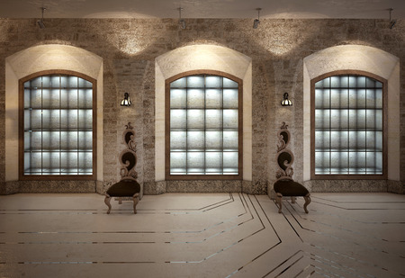 marble wall: Antique shop interior. 3d images Stock Photo