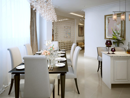 pilasters: The dining room and kitchen in a classic style. 3d visualization