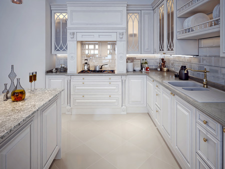 Luxury White Kitchen With A Classic Style 48D Render Stock Photo Delectable Kitchen Luxury White