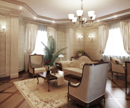 pilasters: Classical interior living room, 3d render