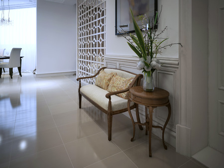 banquette: Banquette bench in classic style. 3d visualization