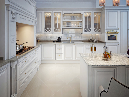 Kitchen design in the Moroccan style. In white. 3D render. Stock Photo