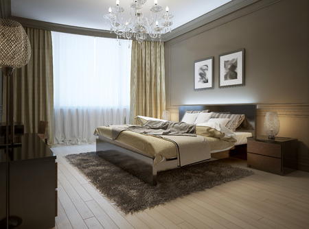 chandeliers: Bedroom interior in modern style, 3d images Stock Photo