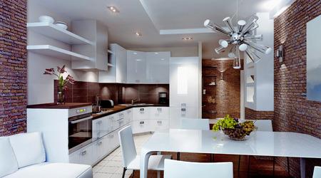 Moderne keuken, interieur, 3d binnenland
