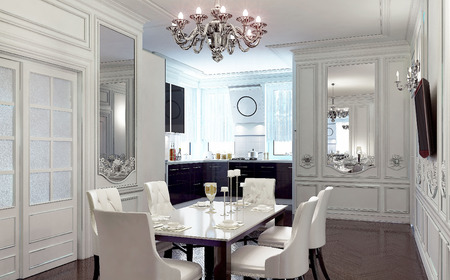 dining room interior: Luxury dining room interior. 3d images