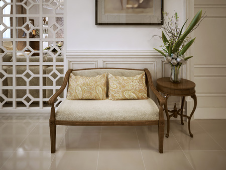 living room sofa: Banquette bench in classic style. 3d visualization