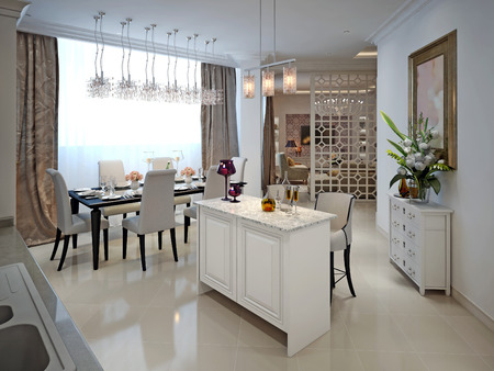 pilasters: Kitchen with island and dining table in the Arab style. 3D render.