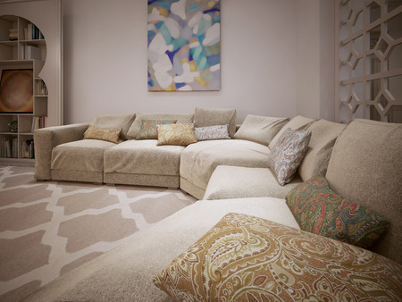 ligature: Contemporary sofa. In a room with a Moroccan style. 3D render.