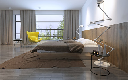 panoramic windows: Bedroom in modern style. Included lights, foggy weather outside. Large floor-to-ceiling panoramic windows. 3D render Stock Photo