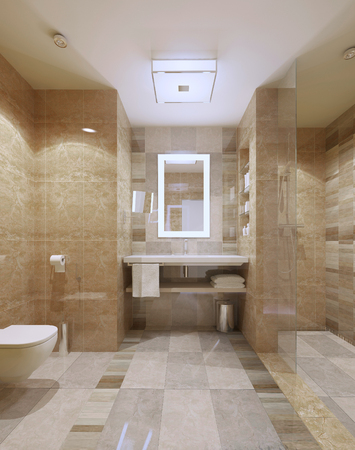 Modern Bathroom interior with marble tiles and mirror. 3D render Archivio Fotografico