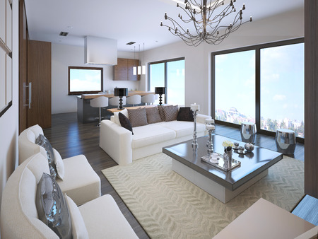 3d apartment: White studio apartment interior in art deco style with large panoramic windows. 3D render