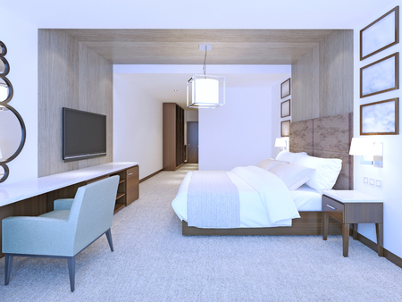 headboard: Idea of modern master bedroom. Large double bed with suede leather headboard. 3D render