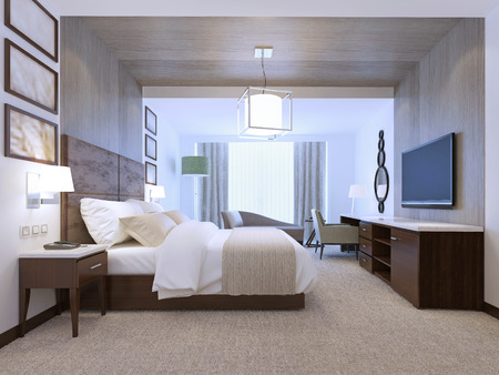 Spacy room with wall decorations in contemporary style. Contrast of white and brown colors. 3D render