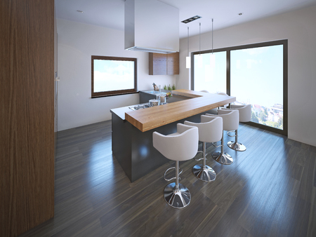 flooring: Spacious kitchen with island bar. Large floor-to-ceiling panoramic windows, laminate flooring.  3D render