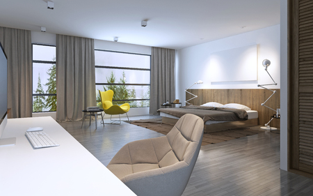 linoleum: Spacious bedroom modern style. Large horizontal window and entrance to balcony, brown furniture, white walls and dark wood linoleum flooring. 3D render
