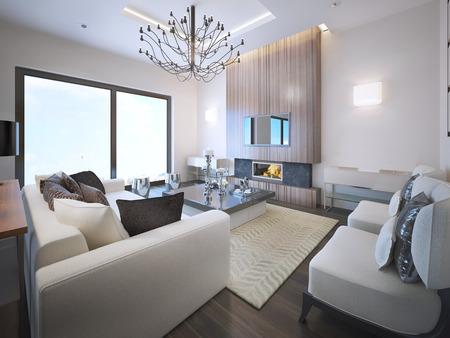 前衛的なリビング ルームの傾向。ネオンの光、暖炉の木枠に天井が高い。白い家具、バルコニーへの入り口と大きなパノラマ窓。3 D のレンダリング