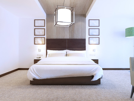 carpet and flooring: Modern bedroom with wood decorations on the walls, hotel room with white walls and carpet flooring. 3D render