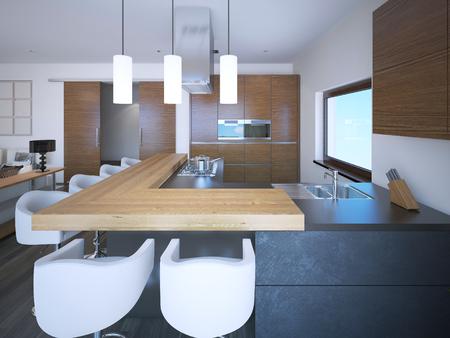 neoclassic: Bright kitchen studio art deco style. White walls and brown cabinets in zebrano. 3D render
