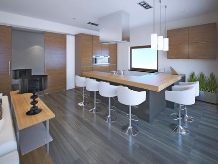 white kitchen: Light L-shaped kitchen design in OntoArt style. Set of brown zebrano furniture for modern kitchen. 3D render