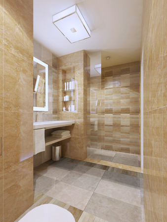 interior decor: Contemporary design of bathroom. Decor concept. Tiled walls, flooring. Glass doors to shower. 3D render