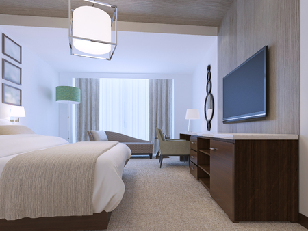 White bedroom with decorative niche of zebrano light wood. Brown furniture with white countertop. Dressed beb with blanket. Tick pile carpet flooring. 3D render Archivio Fotografico