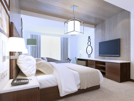 Inspiration for modern hotel room. 3D render