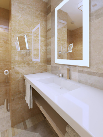 amber light: Bright bathroom trend. Amber color tile, snowy-white countertop of sink console, mirrors with frame light. 3D render Stock Photo
