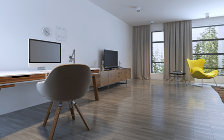 modern apartment: Spacious room with work area and balcony. Panoramic windows. 3D render