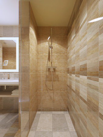 glass doors: High-tech shower in bathroom with marble tile walls, glass doors. 3D render