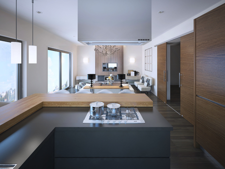 Idea of studio apartments in brown and white colors, grey colored L-shaped cabinets of modern kitchen. 3D render Stockfoto