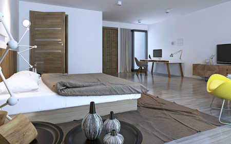 bedroom furniture: Contemporary bedroom with brown furniture. 3D render