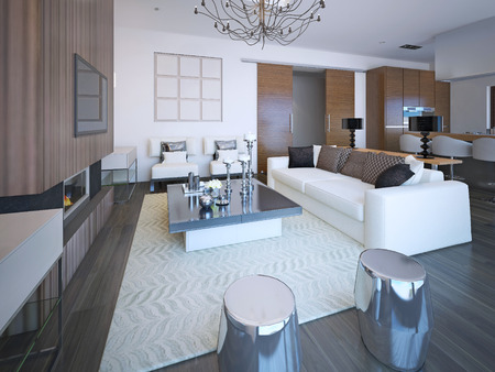APARTMENT LIVING: Trendy furniture in large cozy living room in beautiful apartment with white walls. 3D render
