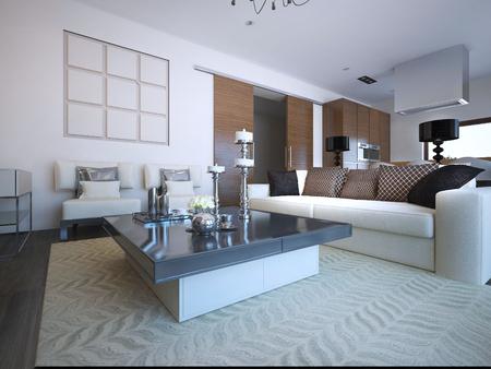 Art-Deco-Wohnzimmer-Design Mit Weißen Möbeln Schwarz Konsolenseite ...