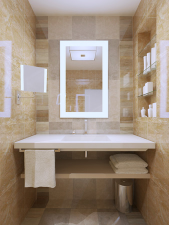 illuminated: Sink and mirror in contemporary bathroom. 3D render