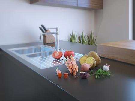 cuchillo de cocina: Interior moderno de la cocina con las verduras frescas en la encimera de piedra natural. Procesamiento 3D