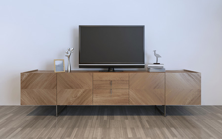 entertainment: TV cabinet with plasma and decorations, brown ikea cabinet with silver decorations and frame on it. 3D render