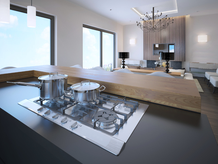 avant: Pots on a gas stove in avant garde studio apartments. 3D render