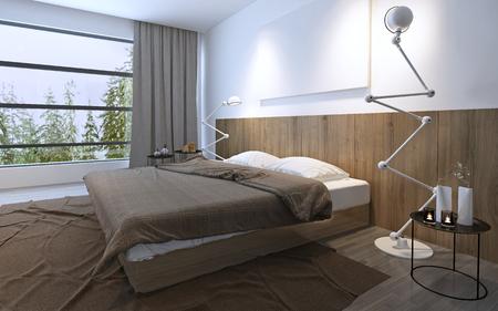 #47622300 Helles Schlafzimmer Mit Panoramafenster In Den Braunen Farben.  Minimalism In Interieur, Spacigen