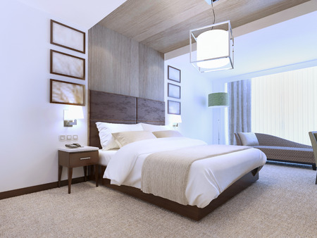 sconce: Bright interior of contemporary bedroom for romantic natures. 3D render